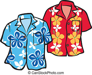Pair of Aloha Shirts - Illustration of a Pair of Aloha...