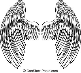 Pair of Angel or Eagle Wings - Spread eagle bird or angel...