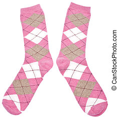 Pair of Argyle Socks - Pair of Pink Argyle Socks Isolated on...