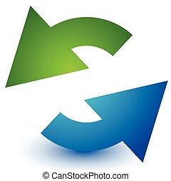 Pair of arrows in circle. Circular arrows. Recycling, loop or cycle icon, symbol in green and blue colors
