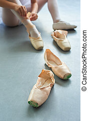 Pair of ballet pointe shoes.