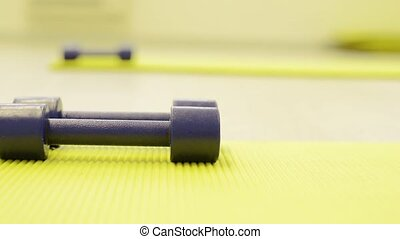 Pair of barbells on exercise mat laid on wooden floor. -...
