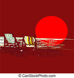 Pair of beach loungers on the deserted coast sea at sunset. Vector sketch on a red background.
