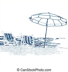 Pair of beach loungers on the deserted coast sea. Vector sketch on a white background.