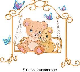 Pair of bears on a swing - Cute pair of bears on a swing