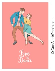 Pair of beautiful man and woman dressed in elegant clothing dancing Lindy Hop. Male and female characters demonstrating retro dance. Vector illustration for party invitation, promo flyer or leaflet.