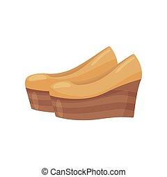 Pair of beige wedge heel shoes, side view. Fashionable women footwear. Casual women shoes. Flat vector design