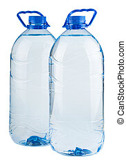 Pair of big bottles of water isolated on white background