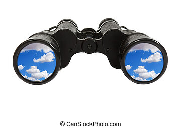Binoculars with blue sky
