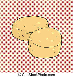 Pair of Biscuits - Two corn bread muffins on red halftone...