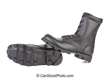 Pair of black boots with rough treads.