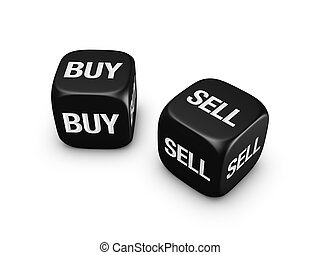 pair of black dice with buy, sell sign isolated on white...