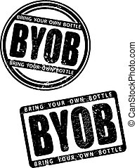 Pair of black grunge style rubber stamp with abbreviation BYOB - bring your own bottle