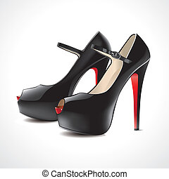 pair of black high-heeled shoes open-toed