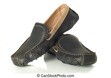 Pair of  black mens moccasins