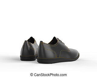 Pair of black oxford shoes with yellow stitching - back view
