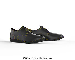 Pair of black oxford shoes with yellow stitching