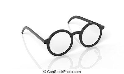 Pair of black round-lens eyeglasses, isolated on white...