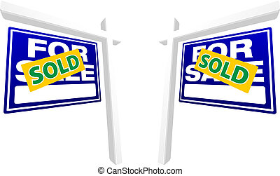 Pair of Blue For Sale Real Estate Signs