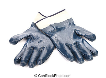Pair of blue rubber gloves. Isolated on a white backgropund.