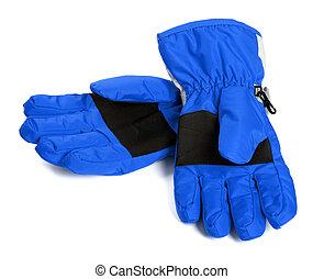 Pair of blue winter ski gloves