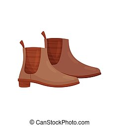 Pair of brown female boots, side view. Casual warm shoes for autumn season. Stylish footwear. Flat vector icon