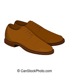 Pair of brown leather shoes. Clean footwear for men. Pair of...