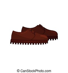 Pair of brown leather shoes with laces, side view. Light casual footwear. Fashion theme. Flat vector icon