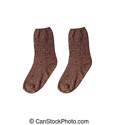 Pair of brown warm winter knitted socks isolated on a white background