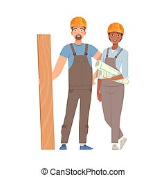 Man and woman builders in gray overalls and blue T-shirts with a board and drawings in their hands. Vector illustration.