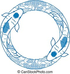 Double, Art, Art Product, Asia, Beautiful, Carp, Circle, Biological Culture, Cute, Design, Pattern, Drawing - Art Product, Illustration, Traditional Festival, Fish, Goldfish, Computer Graphic, hokusai, Image, Ink, Isolated, Japan, Koi Carp, Luck, Nature, Oriental, Decoration, Painting, Prosperity, ...