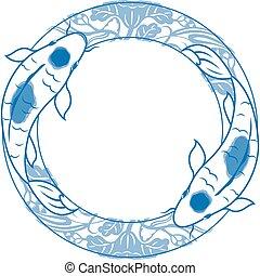 Pair of carp koi illustration - Double, Art, Art Product, ...