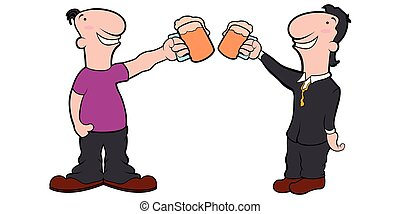 Pair of cartoon characters with beer mugs