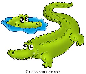 Pair of cartoon crocodiles - color illustration.