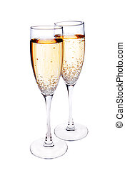pair of champagne glasses isolated on white