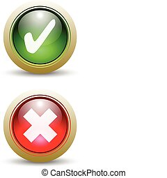 Pair of Red and Green Check Mark and X Buttons - Yes or No.