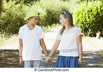 pair of children at the outdoor field