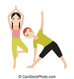 Pair of children dressed in sportswear doing yoga exercise isolated on white background. Sports activity, training or fitness workout for kids. Colorful vector illustration in flat cartoon style.