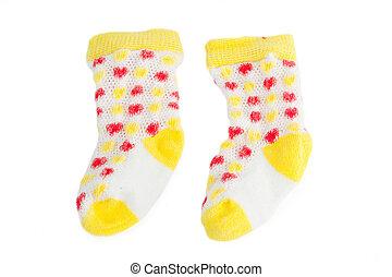 Pair of children socks isolated on white background