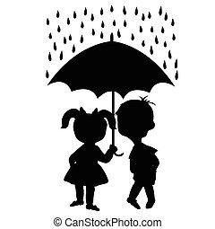 Pair of children staying under an umbrella