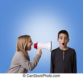 pair of children with megaphone