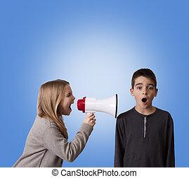 pair of children with megaphone