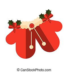 Pair of christmas gloves icon