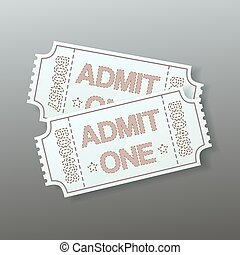 pair of cinema tickets on grey background