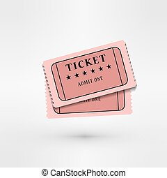 pair of cinema tickets on white