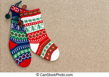 Pair of colorful patterned Christmas stockings
