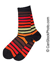 Pair of colorful socks, isolated on white background