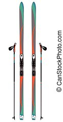 cross-country skis with ski poles isolated - pair of...