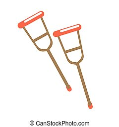 Pair of crutches isolated on white vector illustration. Long sticks
