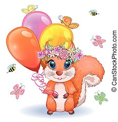 Pair of cute cartoon squirrel with beautiful eyes with balloons in the paw.